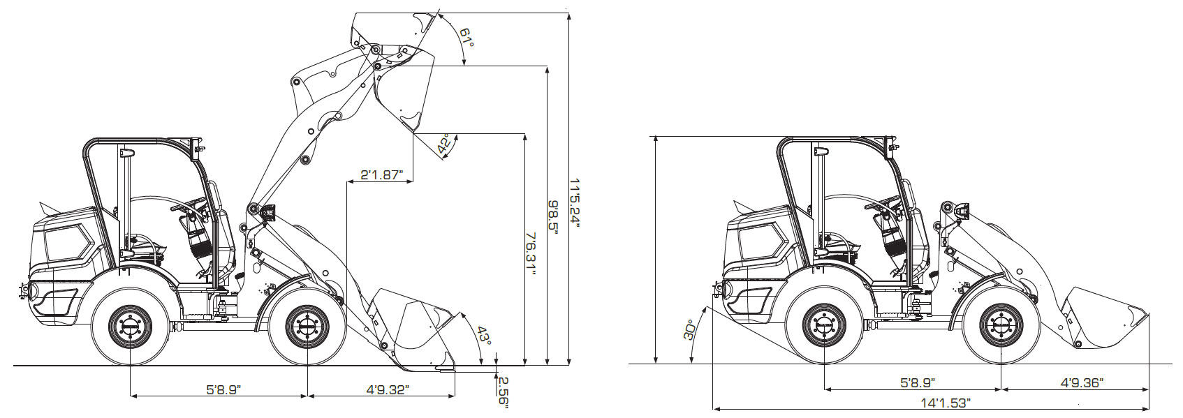 Image of specs on VF2.63C WHEEL LOADER sold by Ranko in Des Moines, IA