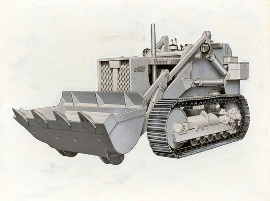 Image of an original production level 1960's Venieri earth moving machine