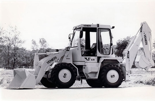 Photograph circa 1968 of a new concept of backhoe loader plus excavator